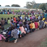 The six VBS groups of 50-100 kids waiting for their gifts